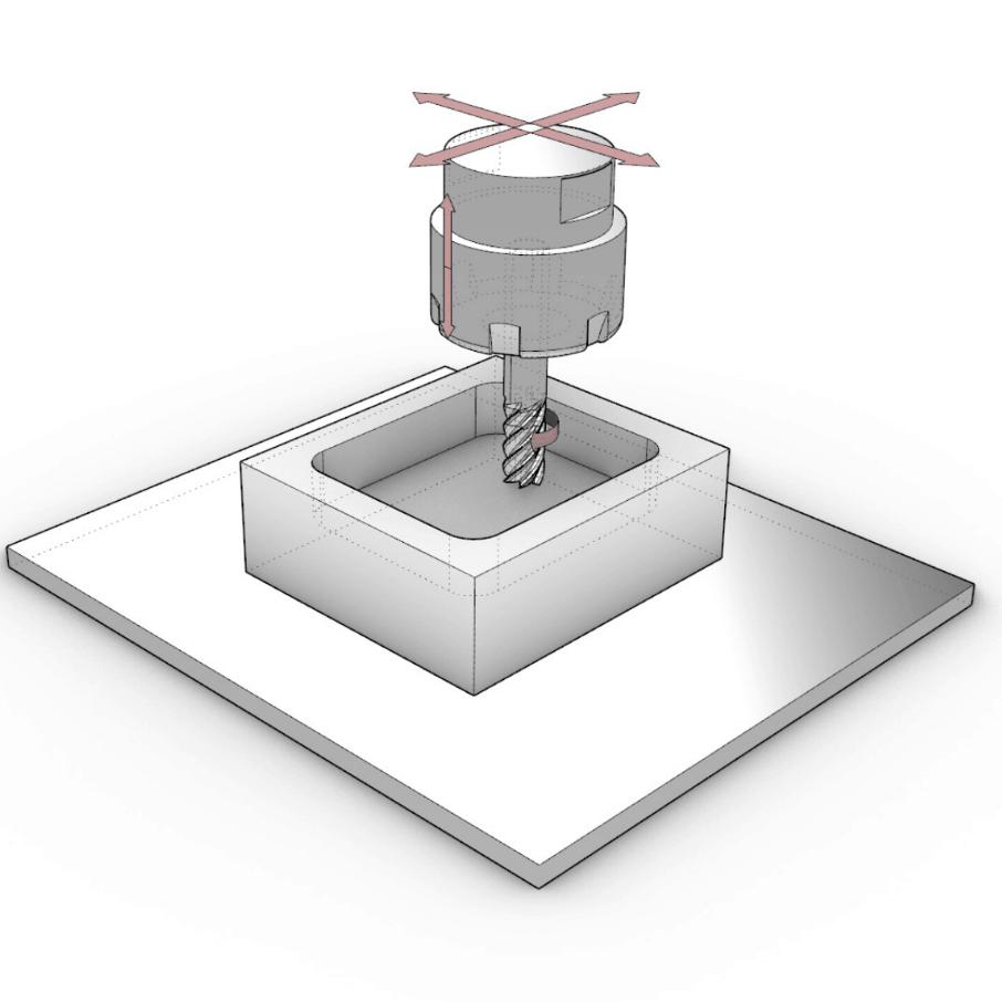 illustration of cnc milling process