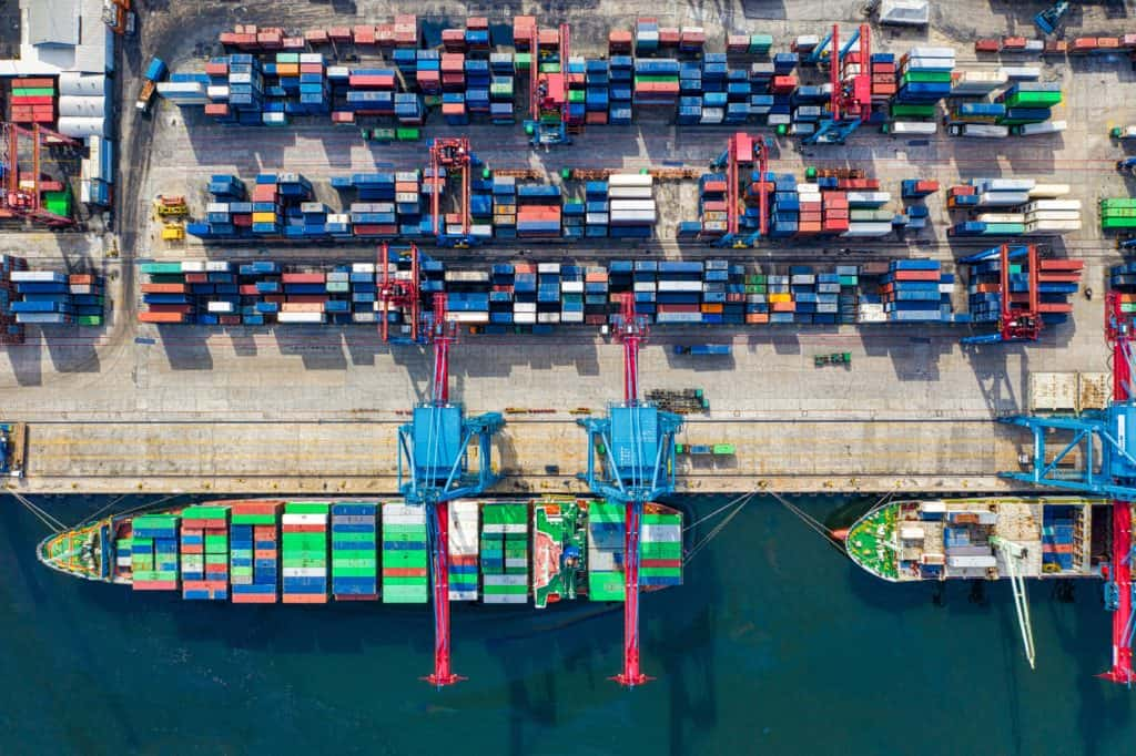 aerial shot of shipping container