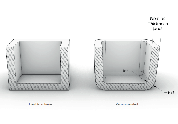 illustration of rounded edges on an injection moulding part