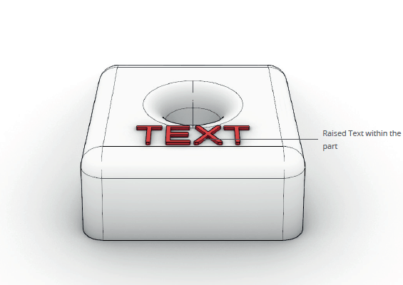 illustration of text on an injection moulding part