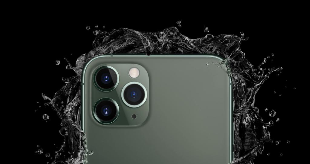 iPhone 11 in water splash