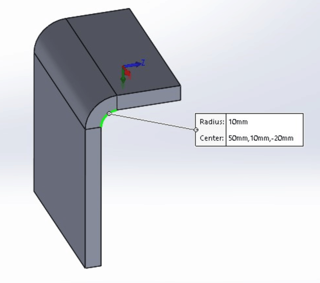 illustration of the bend radius on a sheet metal part