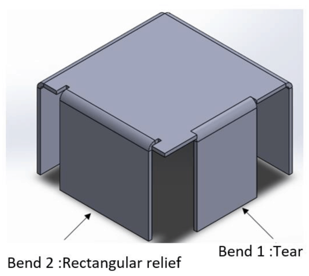 illustration of a rectangular relief on a sheet metal part