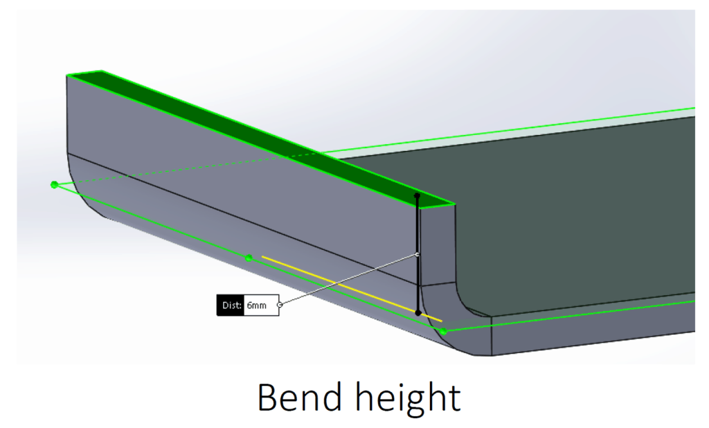 illustration of bend height on a sheet metal part