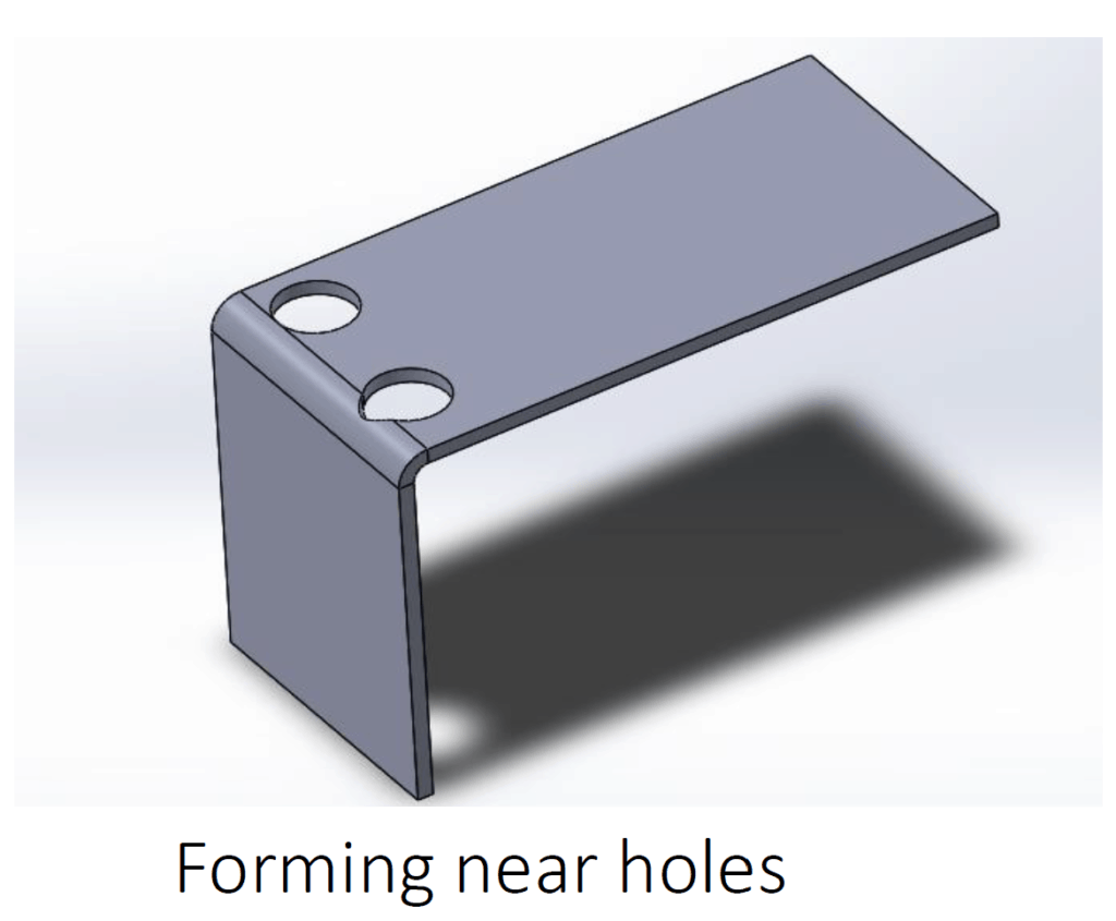illustration of forming near holes on a sheet metal part