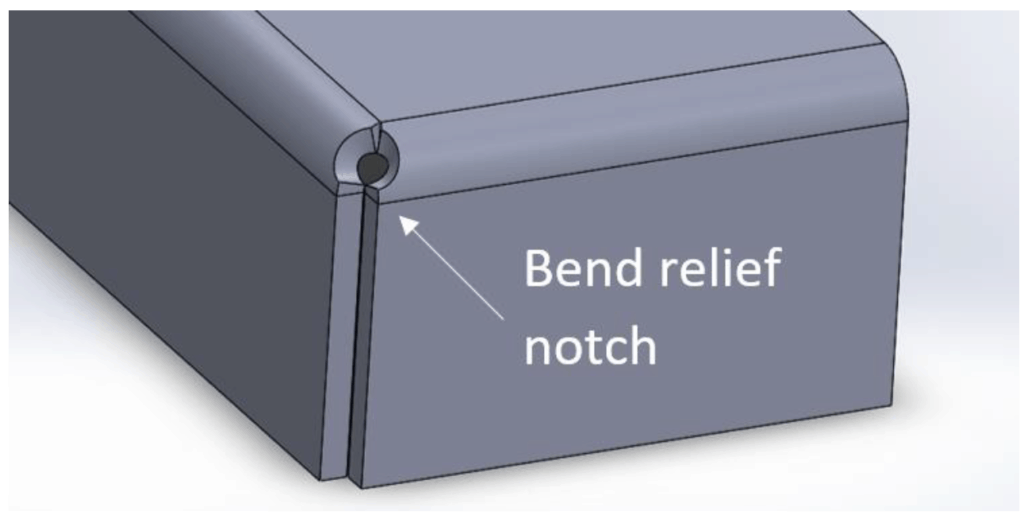 illustration of a bend relief notch on a sheet metal part
