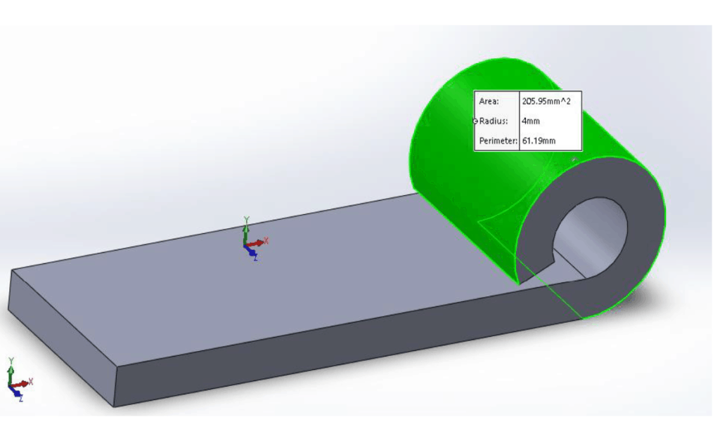 illustration of a curl on a sheet metal part