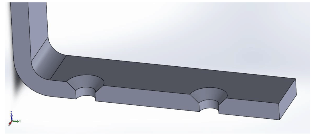 illustration of two countersinks on a sheet metal part