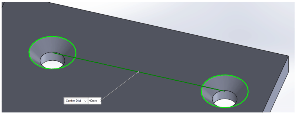 illustration of ideal distance between two countersinks on a sheet metal part
