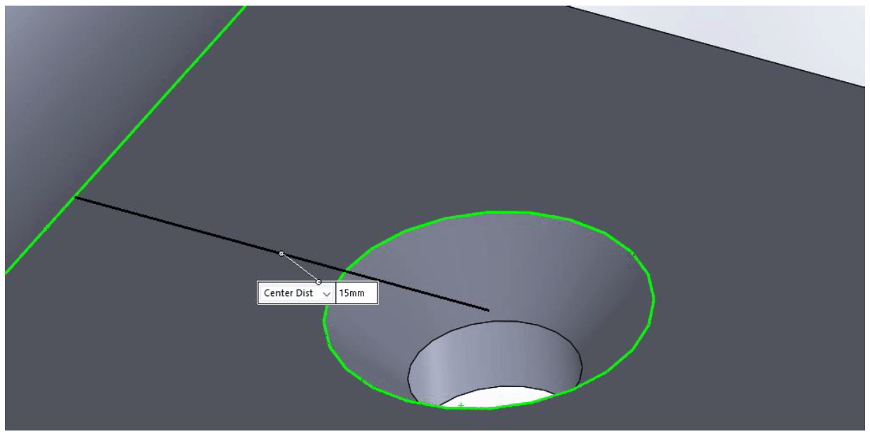 illustration of ideal counter sink distance from the bend line