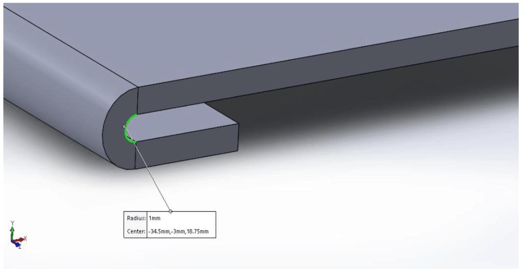 sheet metal open hem inner radius