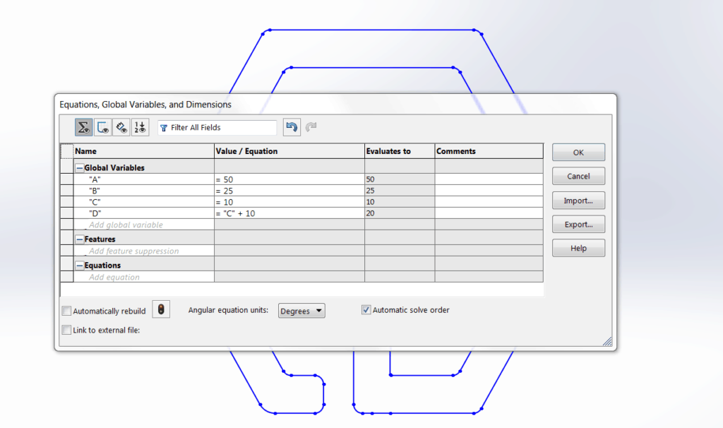 Programing the different dimensions on Solidworks