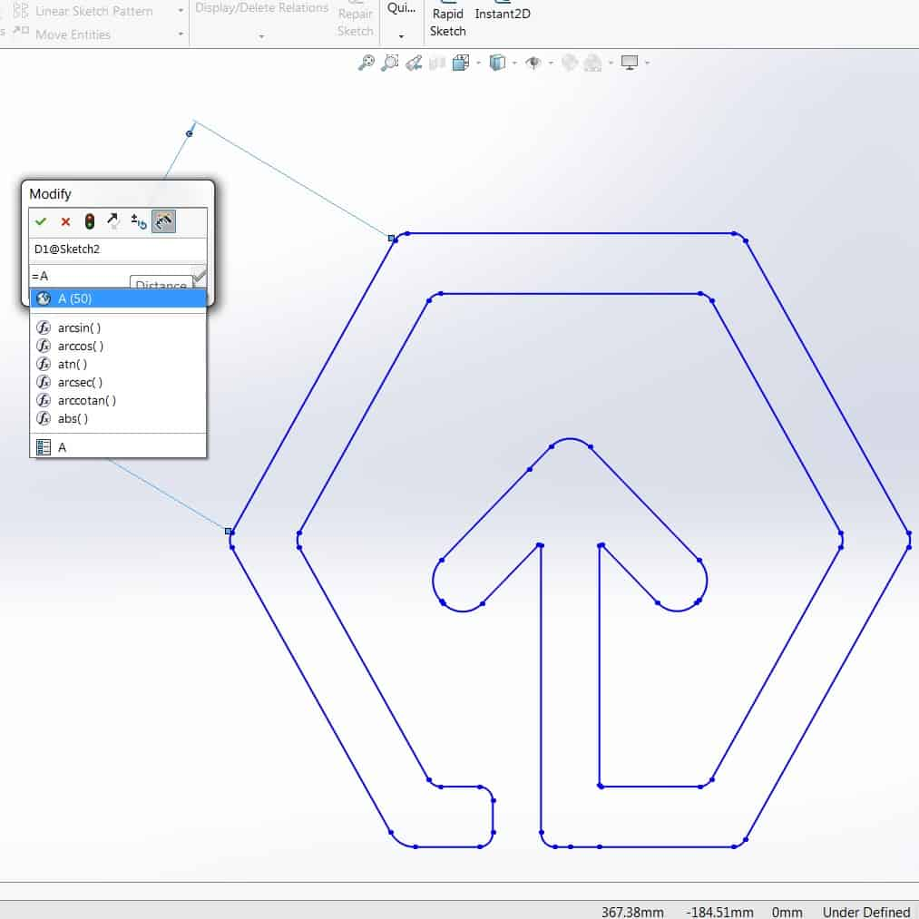 Solidworks tool showing 2D Geomiq Logo