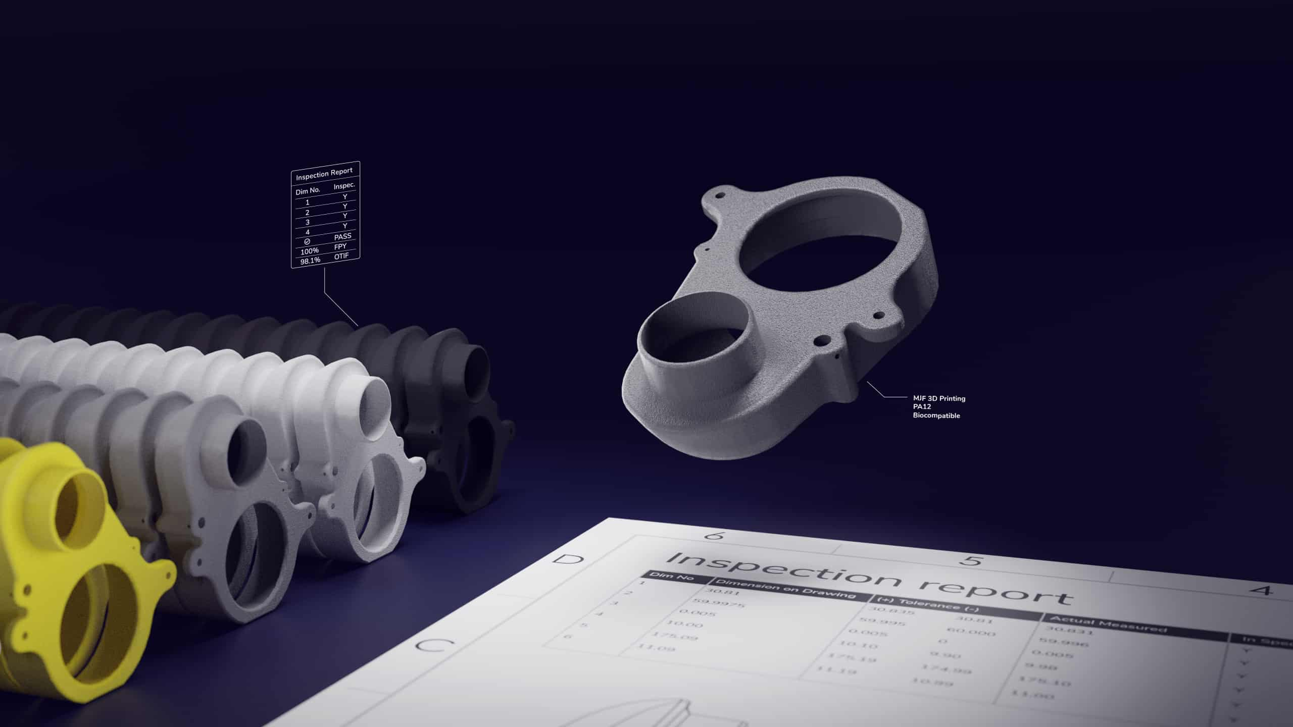 3d printed parts with an inspection report