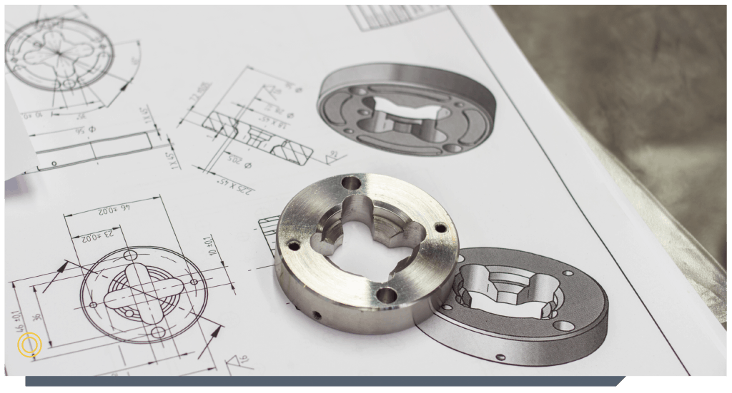 cnc parts on a technical drawing
