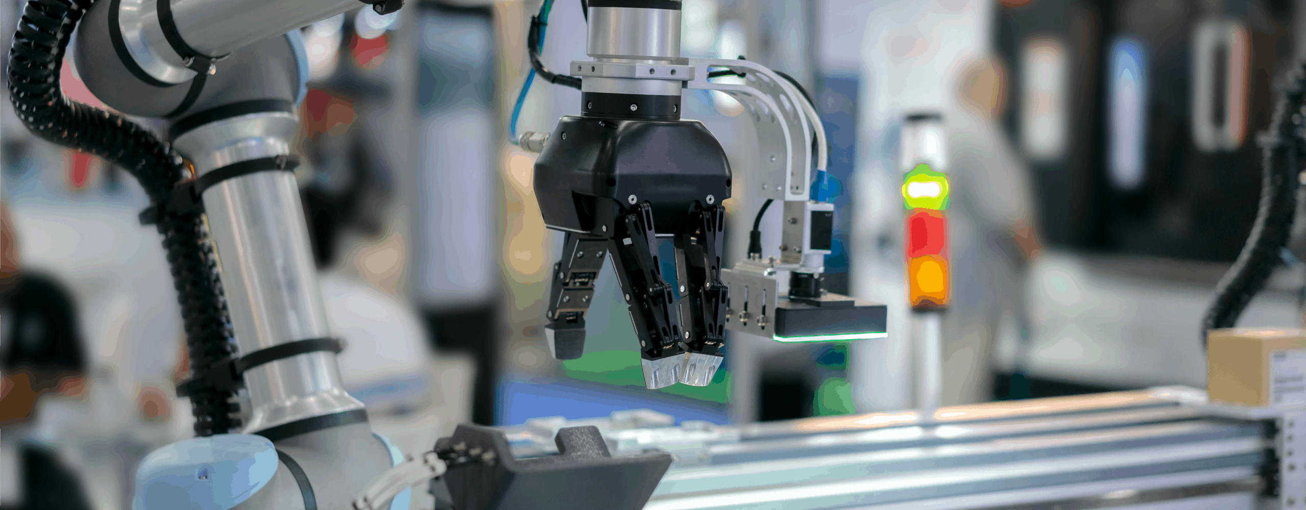 Cobot arm working in a factory