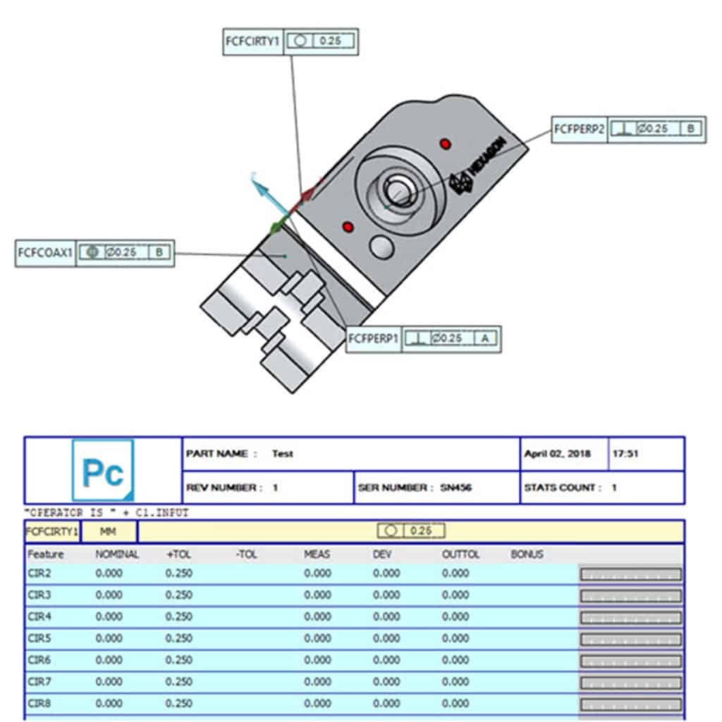 Sample CMM inspection and dimension report